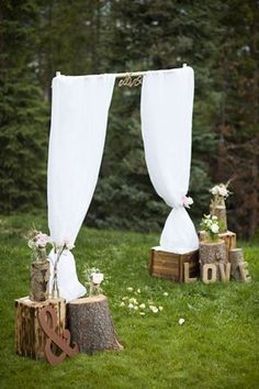 Click the link. Really cute and easy to do ideas if you have an outdoor wedding/reception.