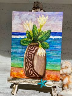 Mini Print on stand of my original painted on the Tahitian island of Huahine in 2019. Flotsam And Jetsam, Tropical Paradise, Colours, Island, The Originals, Canvas, Mini, Painting, Tela