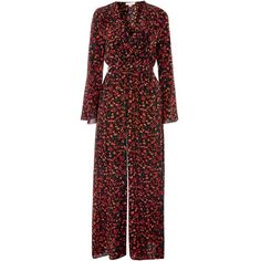Ditsy Floral Jumpsuit by Band of Gypsies (€59) ❤ liked on Polyvore featuring jumpsuits, topshop, multi, band of gypsies, red jumpsuit, red jump suit and jump suit