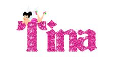TINA'S NAME IN A PERFECT, SPARKLY PINK !!!!