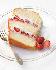 Chiffon Cake with Strawberries and Cream Recipe - light and fluffy cake to squeeze in later #designsponge #dssummerparty