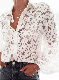 modern see-through floral print folding collar puff sleeves shirt – Ininruby Types Of Sleeves, Dresses With Sleeves, Collar Designs, Lace Outfit, Sexy Shirts, Women Sleeve, Collar Styles, Look Chic, Collar Shirts