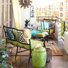 sehr kreative balkon dekoration - grüne akzenten