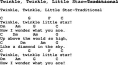 Summer-Camp Song, Twinkle, Twinkle, Little Star-Traditional, with lyrics and chords for Ukulele, Guitar Banjo etc.