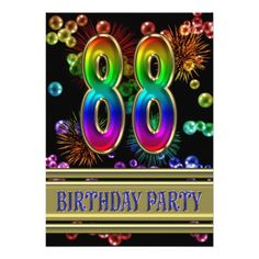 88th Birthday party Invitation with bubbles