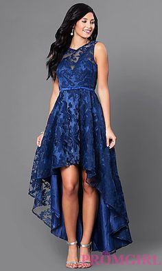 High-Low Lace Sleeveless Semi-Formal Dress at PromGirl.com