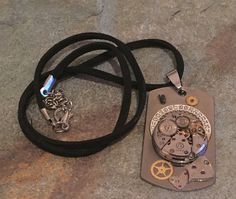 Steampunk Necklace NO.4 Dog Tag Style Watch by Steampunkbyben