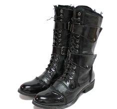 Stylish Punk Style Patent Leather High Boots Black