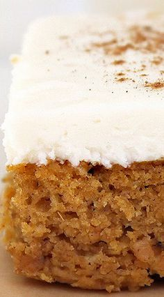 Pumpkin Bars with Cream Cheese Frosting: made these and they were delicious and enjoyed by all. This recipe comes from Better Homes and Gardens New Cookbook- Edition . makes 36 easy and delicious bars. Yummy Treats, Sweet Treats, Yummy Food, Tasty, Fall Baking, Holiday Baking, Köstliche Desserts, Dessert Recipes, Baking Recipes