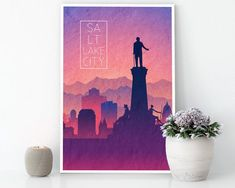 SALT LAKE CITY Utah Sunrise Skyline Canvas Wall Art Ready to Hang Canvas City silhouette Canvas Wall Art, Canvas Prints, Salt Lake City Utah, Mint Blue, Travel Gifts, Vivid Colors, Color Schemes, Sunrise, Skyline