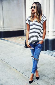 Classic striped tee and ripped jeans combo