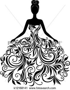 Vector silhouette of young woman in dress View Large Clip Art Graphic