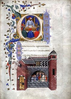 From a 1385 Italian manuscript of the Consolation: Miniatures of Boethius teaching and in prison