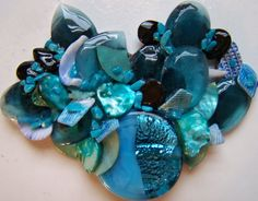 Shades of Blue MixedMedia Collage Necklace by JewelryJunkieDonna