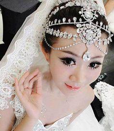 Bridal Wedding Chain Rhinestone Crystal Hair Tiara Tikka Dangle Crown Headpiece  #Unbranded #ForeheadJewelry