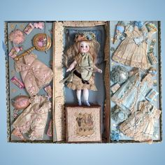 Lavish French presentation case of trousseau with superb all bisque doll