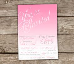 Pink Bridal Shower Invitations - DIY Printable, Couples Shower, Baby Shower,  Ombre, Wedding, Engagement Party, Coral