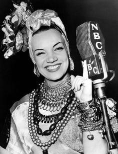 Carmen Miranda, Portugese born, Brazilian samba signer and comic actress known for her zany costumes!