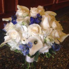 White Roses & Calla Lilies w/ Blue Accent Bouquet  Aria Style / www.ariastyle.com / www.facebook.com/... / instagram.com/...