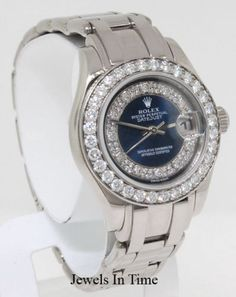 Rolex Womens Pearlmaster 80299 18K White Gold/Diamond Watch Box/Papers