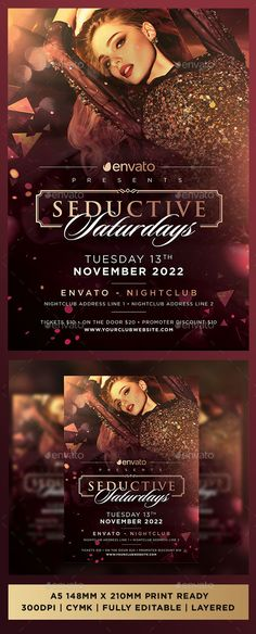 Buy Seductive Saturdays Luxury Premium Sexy Club Event Flyer by sketchengineer on GraphicRiver. Seductive Saturdays Nightclub Template PSD All Text is Editable Resolution: CMYK Fully Layered file Organised . Club Flyers, Event Flyers, Event Flyer Templates, Flyer Design Templates, Email Newsletter Design, Club Poster, Halloween Flyer, Event Banner, Club Parties