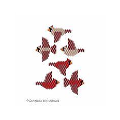 Mini Cardinal Female & Male Peyote Pattern by NaturalWondersbyCari