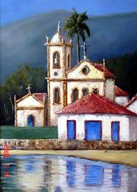 Watercolor Landscape, Watercolor Paintings, Brazil Art, Cottage Art, Building Art, Tropical Art, Naive Art, Christmas Paintings, Acrylic Painting Canvas