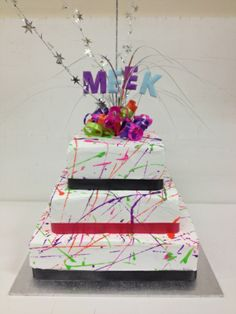 Paint splatter cake- white buttercream
