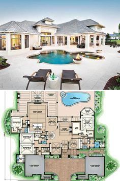 Open Floor House Plans, Pool House Plans, Basement House Plans, House Plans One Story, New House Plans, Dream House Plans, Modern House Plans, Story House, Modern Houses