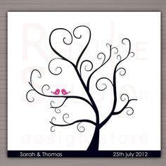 DIY Wedding Tree Guest Book | Printable Fingerprints Tree. Alternative wedding guest book, DIY