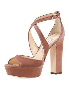 X3T72 Jimmy Choo April Velvet Platform Sandal