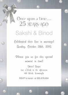 black and white 25th wedding anniversary invitation with wordings
