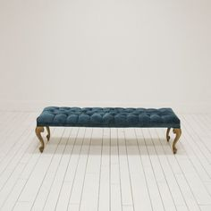 Hollywood Regency Bench l Tufted Teal Peacock Blue Bench l Gold and Blue Tufted Bench l Birch & Brass Vintage Rentals l Weddings and Corporate Events l Austin, TX