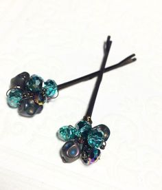 Blue beaded hair pins grunge accessories for women by CrushedCameo