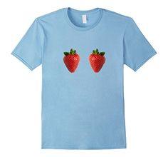 Summer Boobs Strawberry Bra T-shirt Funny Breast Fruit Tee