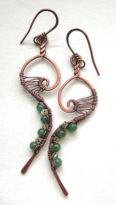 great design, minimal, but lots of handcrafted details! Whimsical earrings -  wire wrapped earrings - copper earrings - boho chic earrings - indie earrings - indie jewelry