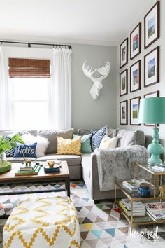 Home decorating ideas - colorful eclectic style living room with layers of pattern and textures | Inspired by Charm Summer Home Tour 2015