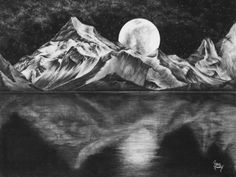 Moonlight hand drawn charcoal design of mountains at night by #studiosixtyone