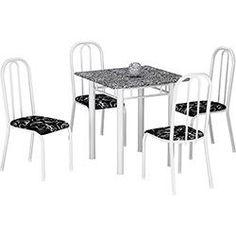 Conjunto de Mesa de Jantar Nevada + 4 Cadeiras Madri - Branco/Preto Floral - Fabone