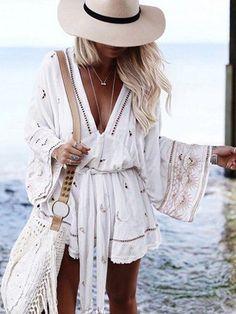 Beachy Outfits Discover Long Sleeve V-Neck Casual Dresses Mode Hippie, Bohemian Mode, Boho Chic, Boho Style, Boho Outfits, Trendy Outfits, Fashion Outfits, Beach Outfits, Boho Summer Outfits