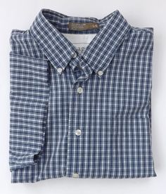 Haggar Shirt Size Large Button Down Generations Short Sleeve Blue White Plaid #Haggar #ButtonFront