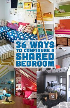 Here are 36 creative ways to configure a shared bedroom for girls or boys. Everything from bunk beds to lofted beds to trundles. Or using colors, curtains or desks as dividers.