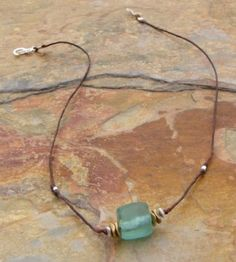 Recycled Aqua Glass Barrel Linen Necklace by Elizabeth Plumb Jewelry