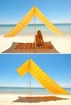 The Sombrilla - ok, only sold in Australia but I think I could DIY this..3or4 yards of Sunbrella fabric, 8 large grommets, PVC, rope with sand/tent anchors and tent poles for the main poles...Yep! Gonna get right on this..t-minus two months till beach trip to master this :0)-  this will fold up a lot smaller than an umbrella .....GREAT idea !!!!