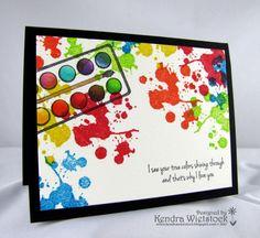 By: Kendra Wietstock.  http://kendrawietstock.blogspot.com ~ stamps: Gourmet Rubber Stamps (True Colors, Paint Splatter single); Ink: Tsukineko; Copic Markers.