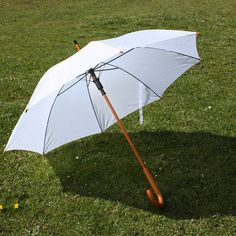 White Wedding Umbrella Parasol with Wooden Crook Handle and