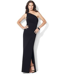 Lauren Ralph Lauren One-Shoulder Evening Gown Women - Dresses - Macy s f8112f74df70