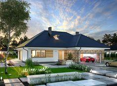 Wizualizacja ARP PADME CE House Plans Mansion, Craftsman House Plans, Village House Design, Village Houses, Bungalow Exterior, Dream House Exterior, Interior Paint Colors For Living Room, Cottage Style Homes, Home Design Plans