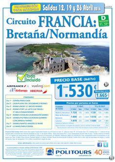 FRANCIA: Bretaña/Normandía, salida 26 de Abril desde España (8d/7n) precio final desde 1.665€ ultimo minuto - http://zocotours.com/francia-bretananormandia-salida-26-de-abril-desde-espana-8d7n-precio-final-desde-1-665e-ultimo-minuto/
