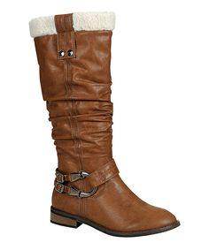 Look what I found on #zulily! Brown Harwin Fuzzy Collar Boot by Reneeze #zulilyfinds